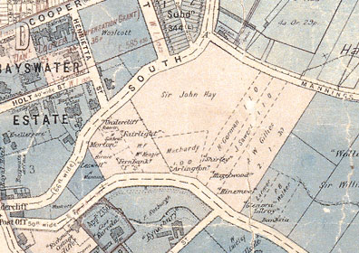 Portion of the municipal map of Woollahra, showing Sir John Hay's garden in Edgecliff, 1889