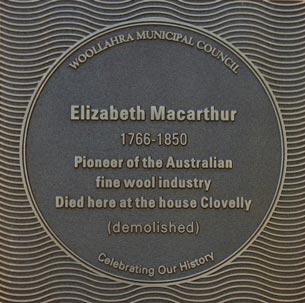 Elizabeth Macarthur plaque