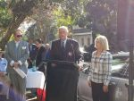 Alan Kippax plaque unveiling - Mayor Peter Cavanagh, Phil O'Sullivan OAM and Joan Ruthven, Team Leader Community Programs, Woollahra Libraries
