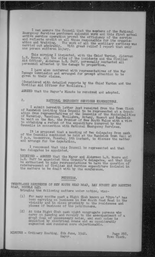 Council minutes 8, June 1942 continued