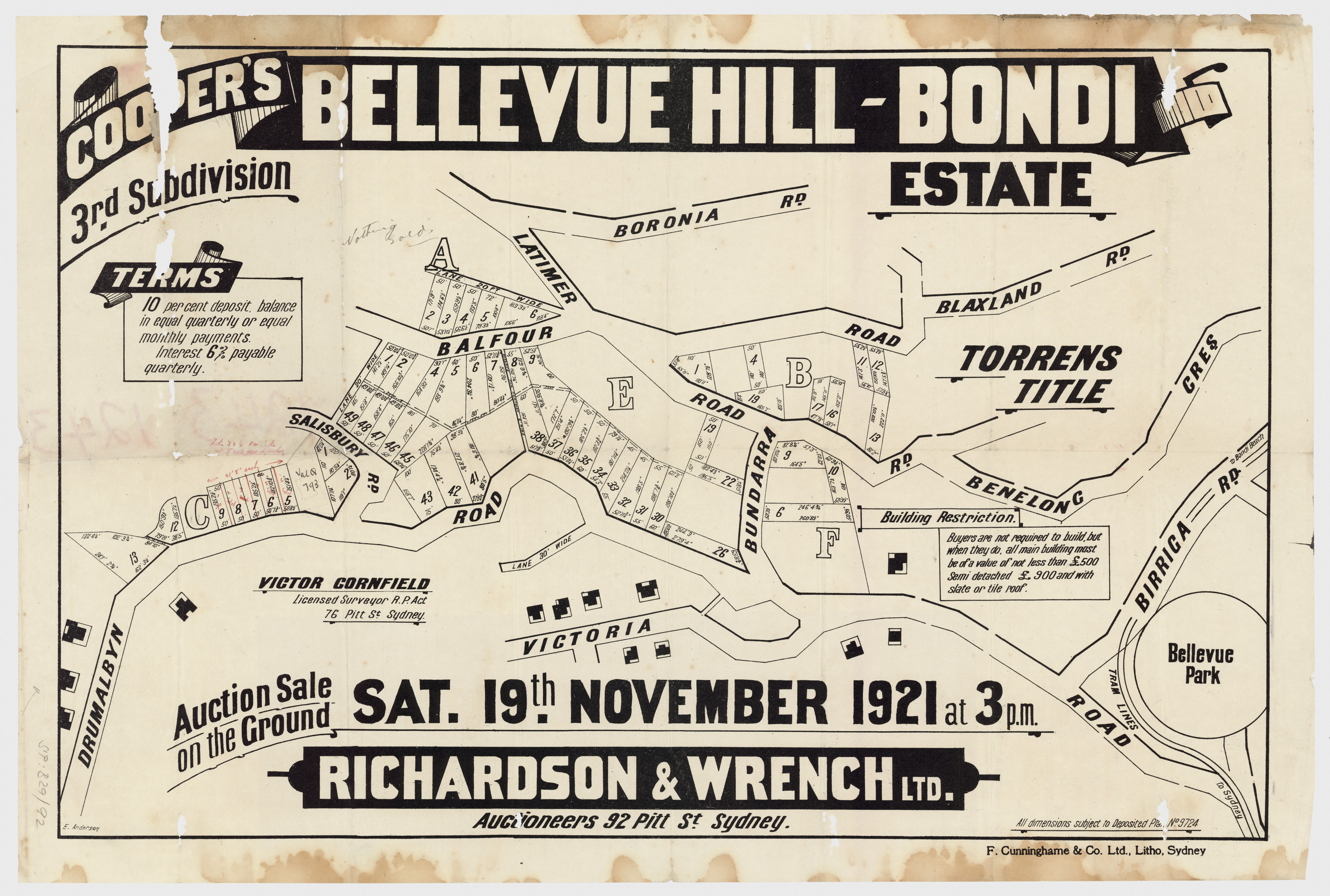 Sales plan for the residue of the third subdivision of the Cooper's Bellevue Hill-Bondi Estate offered for sale in 1921.  Image: From the collections of the State Library of New South Wales  c028640090