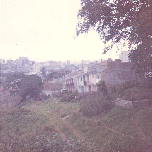 Houses on the edge of Trumper Park. Image from an album of coloured photographs of Edgecliff dating from the mid 1960s - much of this area was extensively redeveloped during the 1970s with the construction of the Edgecliff Centre and the Edgecliff Interchange. Woollahra Libraries Digital Archive PF004610j.