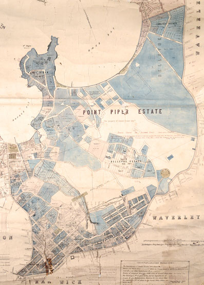 Portion of the municipal map of Woollahra showing the extent of the Point Piper Estate, 1889