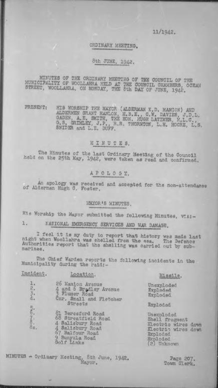 Council minutes 8, June 1942