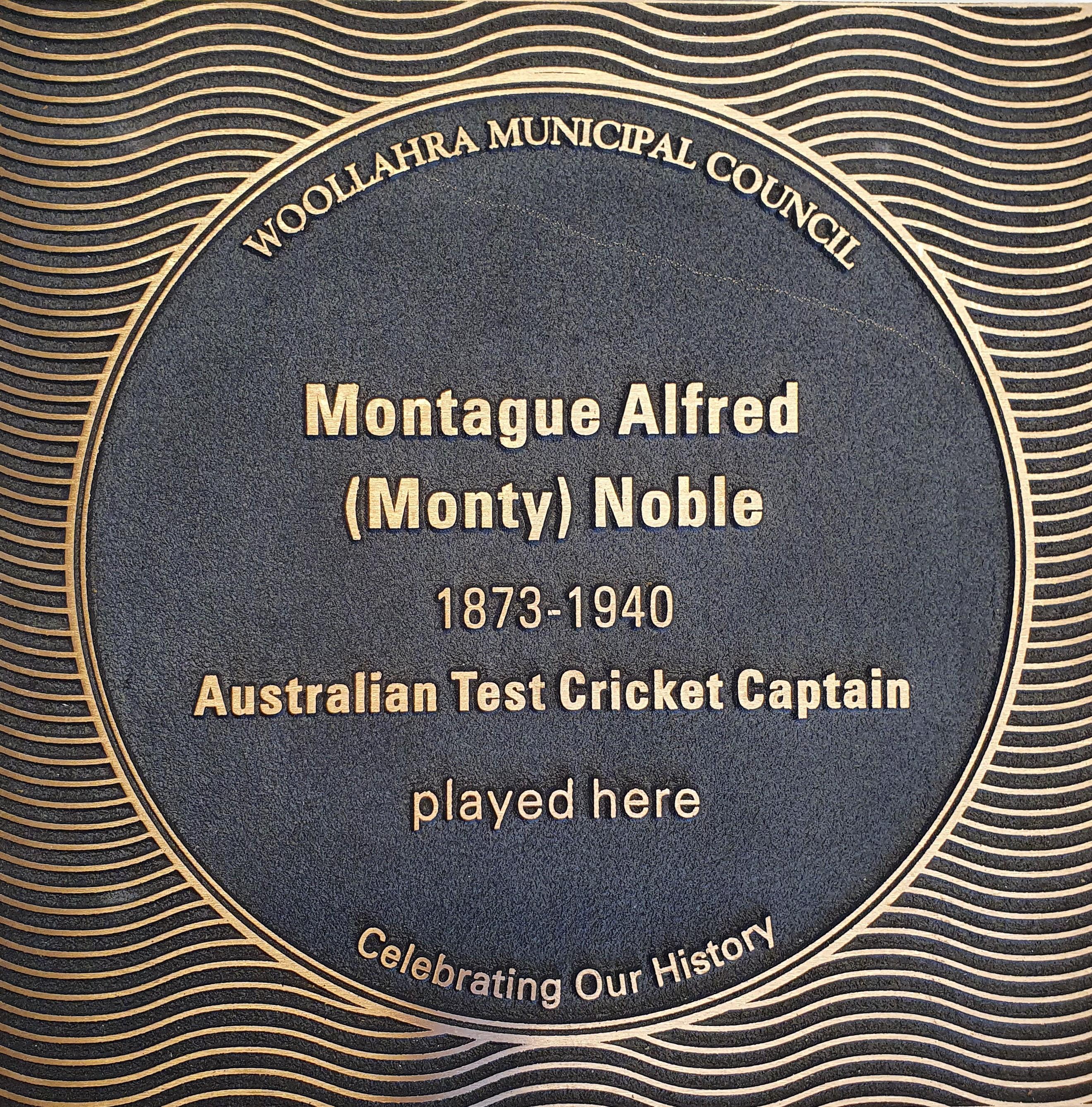 Montague Alfred (Monty) Noble plaque