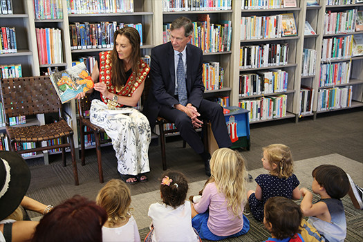 Woollahra Mayor Susan Wynne and John Williamson-Noble at Watsons Bay Library