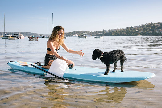 Woman on a stand up paddle board with her dog