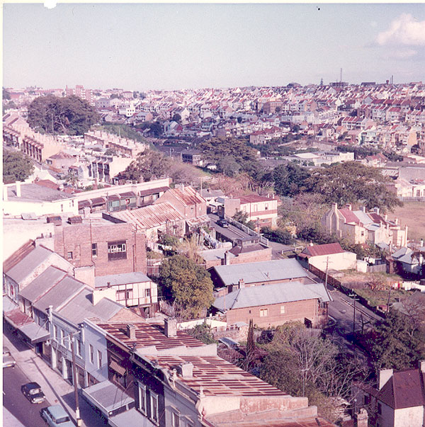From an album of coloured photographs of Edgecliff dating from the mid 1960s - much of this area was extensively redeveloped during the 1970s with the construction of the Edgecliff Centre and the Edgecliff Interchange. Woollahra Libraries Digital Archive PF004610c.