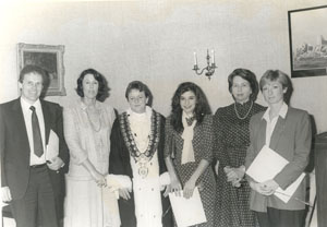Citizenship Ceremony, Redleaf, 1983. Rosemary Foot (second from right) is photographed with Woollahra Mayor Alderman Judy May, and new citizens.