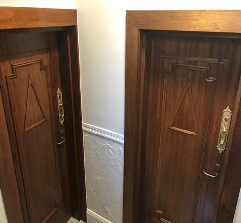 Replicated original door-sets to fire door-sets with restored and re-instated door hardware