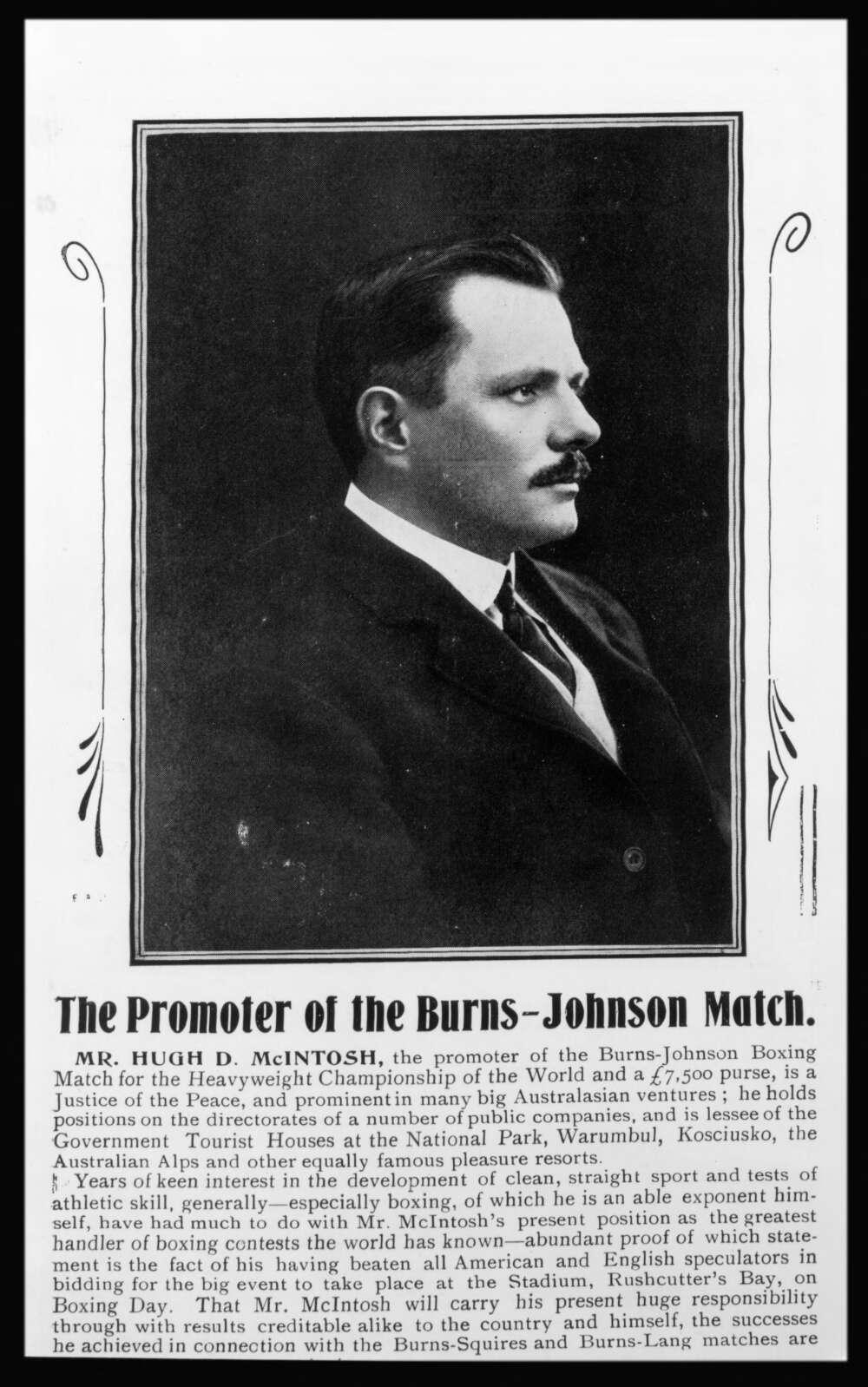 Hugh D Macintosh, promoter of the Burns-Johnson match