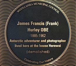 James Francis (Frank) Hurley plaque