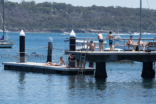 People swimming and jumping off a pontoon into the Watsons Bay Baths