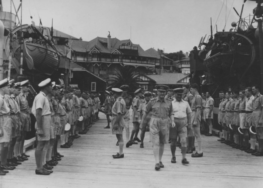 Admiral Sir Bruce Fraser, GCB, KBE, RN,  inspects men of the 2nd Minesweeping Flotilla in Watsons Bay, Sydney,  20 November 1944. [The wharf at the Vaucluse Amateur 12ft Sailing Club, Wharf Road, was extended during WWII].  Image: Naval History Section, Sea Power Centre - Australia.