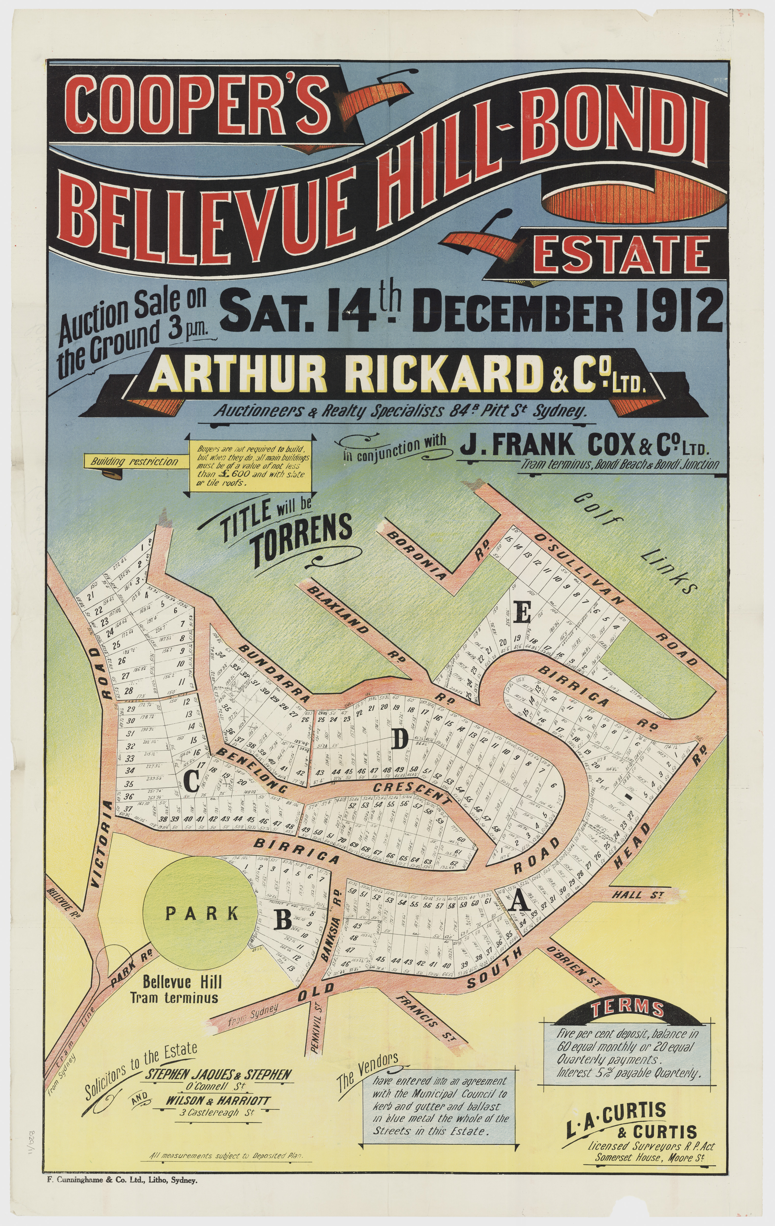 Sales plan for the first subdivision of the Cooper's Bellevue Hill-Bondi Estate offered for sale in December 1912. The 1912 release was centered on the newly constructed estate road named 'Birriga' – eventually the route taken by the extension of the Bellevue Hill tramway to Bondi Beach. Image: From the collections of the State Library of New South Wales  c028640011