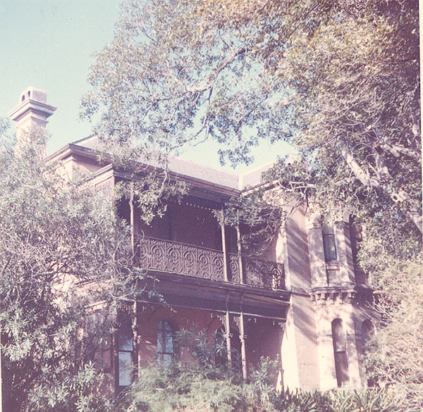 Ringswold 505 Glenmore Road Edgecliff – built c1863 for Henry Prescott, an Alderman of Paddington Council from 1871 to 1875, demolished 1968. Image from an album of coloured photographs of Edgecliff dating from the mid 1960s - much of this area was extensively redeveloped during the 1970s with the construction of the Edgecliff Centre and the Edgecliff Interchange. Woollahra Libraries Digital Archive PF004610m.