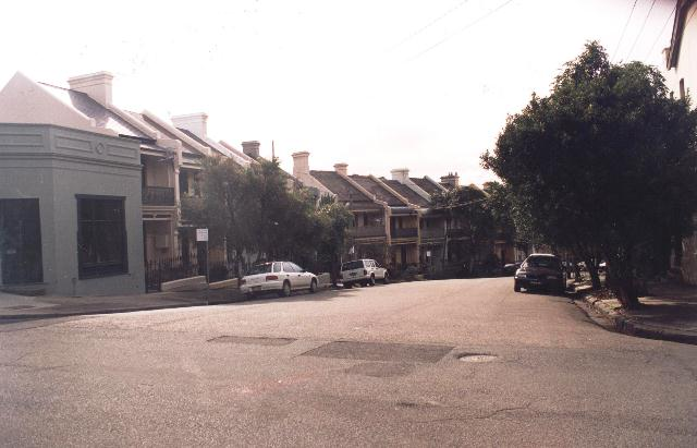 Looking down Duxford Street towards Margaret Olley's house in the 1990s.