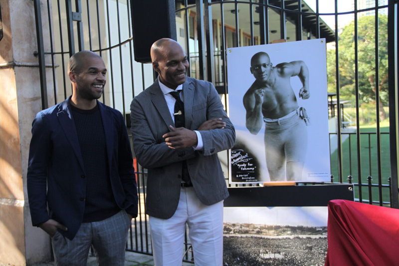 Plaque unveiling  - World Heavyweight Championship title fight 1908 – Joseph Sarkodie, plaque nominator and James White, guest speaker.