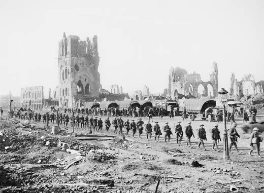 Australians on the way to take up a front line position in the Ypres Sector, Belgium