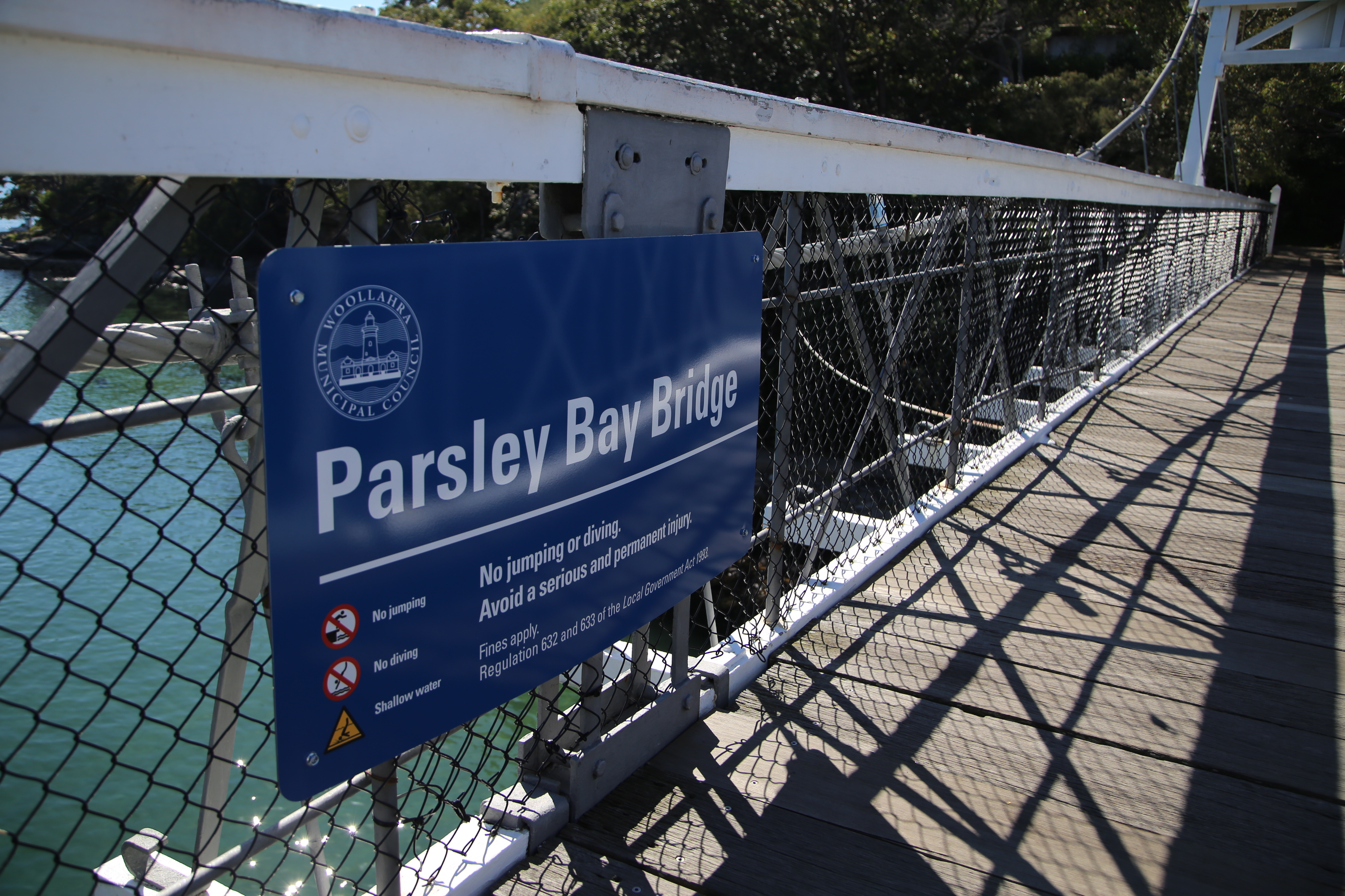 'No Jumping' signs installed on Parsley Bay suspension bridge