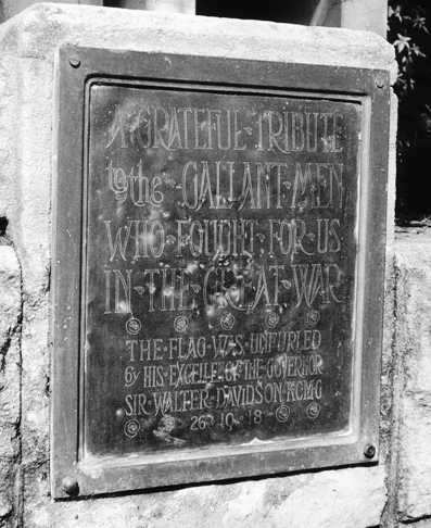 Vaucluse War Memorial plaque