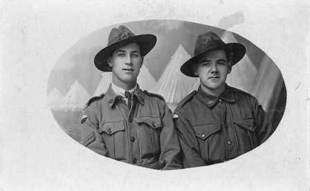 Portrait of two AIF enlistees