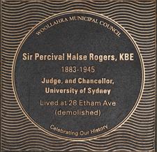 Sir Percival Halse Rogers plaque