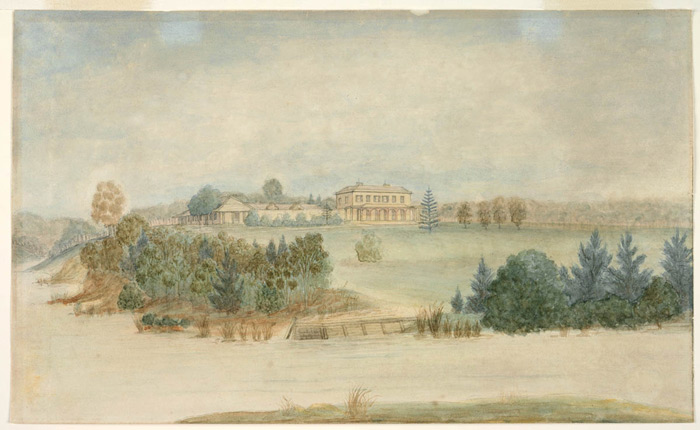 Painting of the view over vineyards, Parramatta,