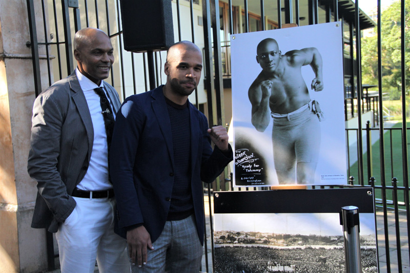 Plaque unveiling  - World Heavyweight Championship title fight 1908 – James White, guest speaker and Joseph Sarkodie, plaque nominator.