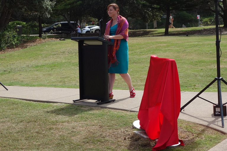 Elizabeth Macarthur plaque unveiling 8 February 2019. Michelle Scott Tucker, author of 'Elizabeth Macarthur - a life at the edge of the world'