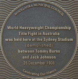 World Heavyweight Boxing Championship Title Fight 1908 plaque