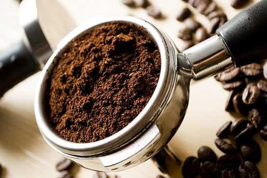 Ground coffee in machine