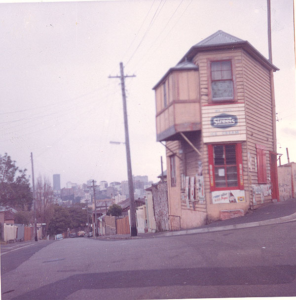 'Emma Chisett' (previously a shop) 81 Cameron Street, Edgecliff (cnr of Thorne Street) - probably built 1860s and still standing. Image from an album of coloured photographs of Edgecliff dating from the mid 1960s.  Woollahra Libraries Digital Archive PF004610g.