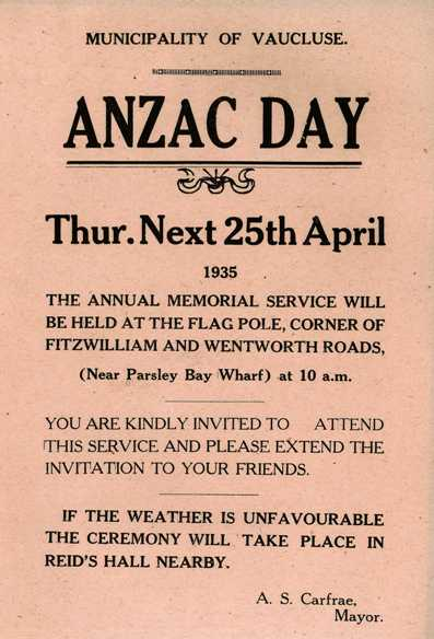 Flyer for Anzac Day service