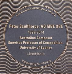 Peter Sculthorpe plaque