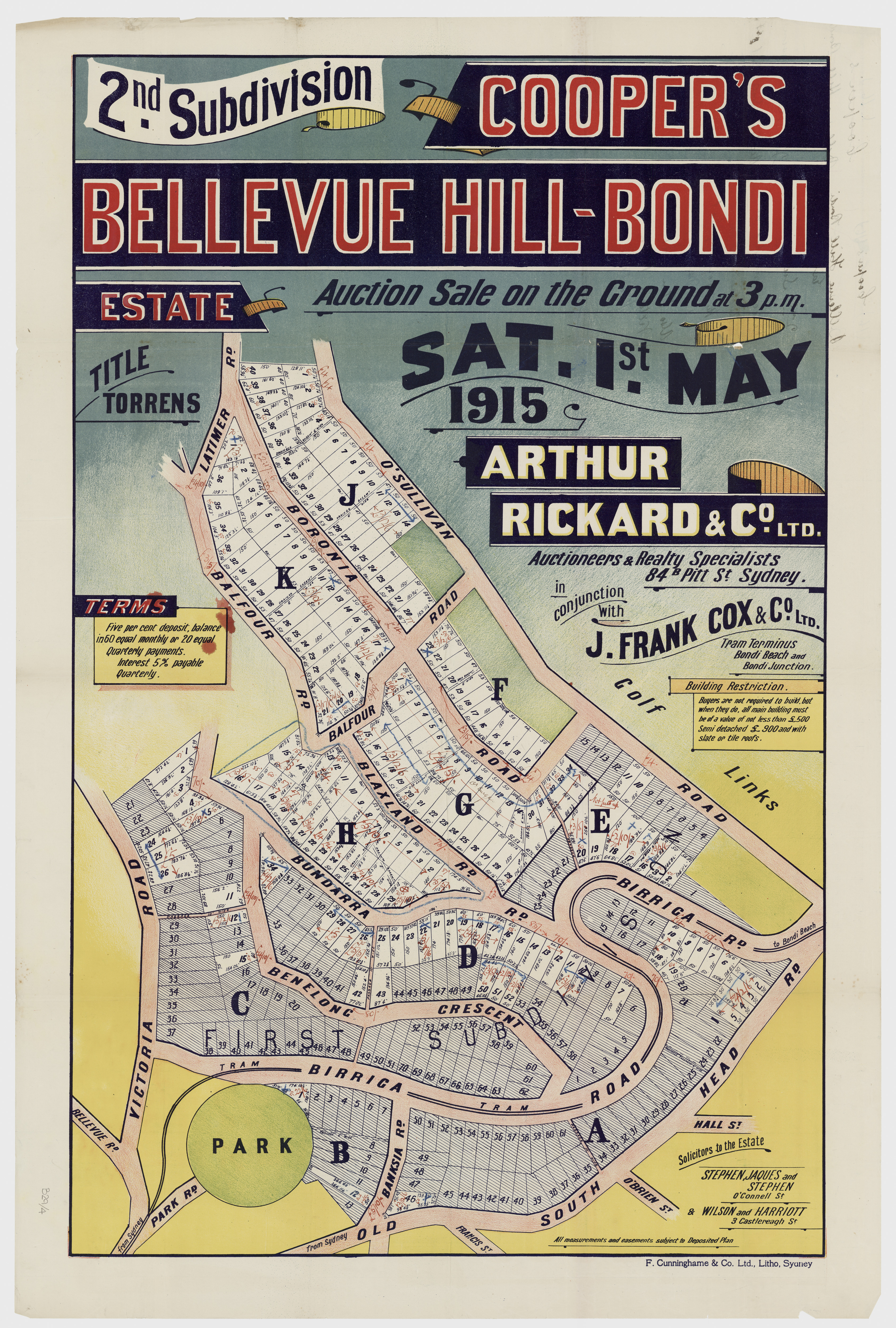 Sales plan for the second subdivision of the Cooper's Bellevue Hill-Bondi Estate offered for sale in 1915.  Image: From the collections of the State Library of New South Wales  c028640004
