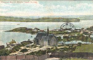 Postcard view of St Peters Anglican Church with Camp Cove in the near background early 20th century