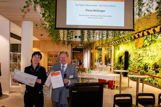 Mayor Peter Cavanagh with Digital Literary Award - Non-Fiction winner Fiona McGregor