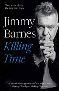 Jimmy Barnes in black and white, grasping his hands
