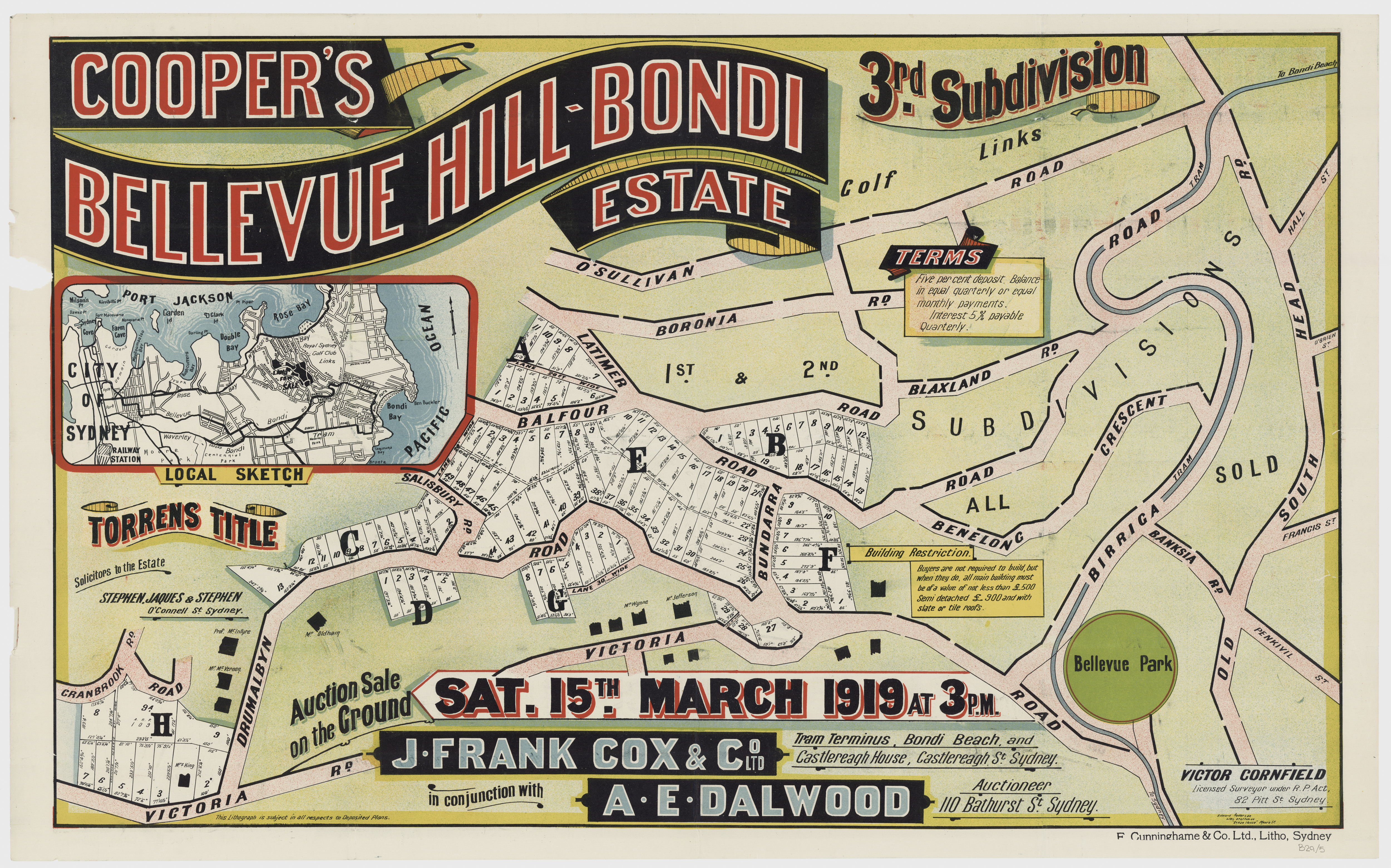 Sales plan for the third subdivision of the Cooper's Bellevue Hill-Bondi Estate offered for sale in 1919.  Image: From the collections of the State Library of New South Wales  c028640005
