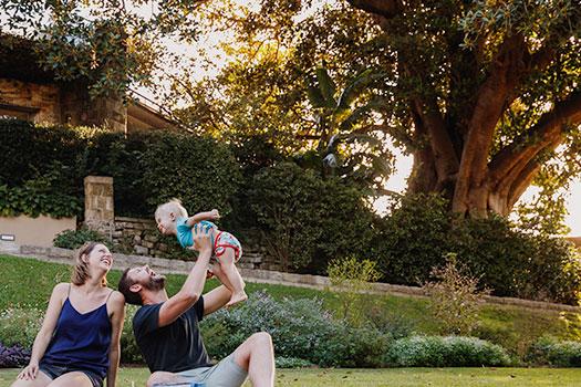 Family enjoying picnic in Blackburn Gardens