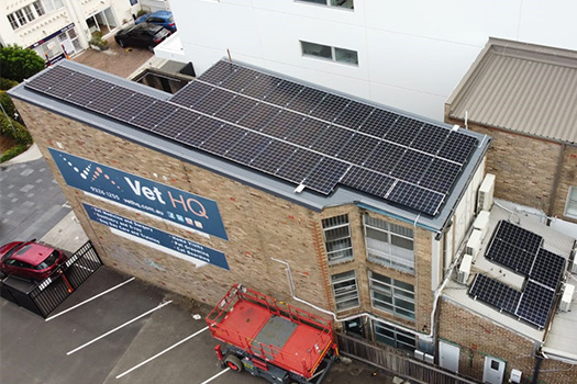 Solar system on the roof of Vet HQ
