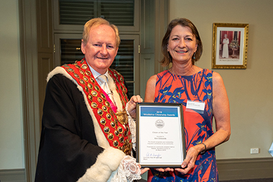 Woollahra Mayor, Councillor Peter M Cavanagh, with Woollahra 2019 Citizen of the Year, Kim Edwards