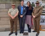 Plaque unveiling 2019 - James Francis (Frank) Hurley -  Peter Ryan, Victoria Barracks,  Councillor Anthony Marano, Mayor Cllr Susan Wynne, Guest, Victoria Barracks