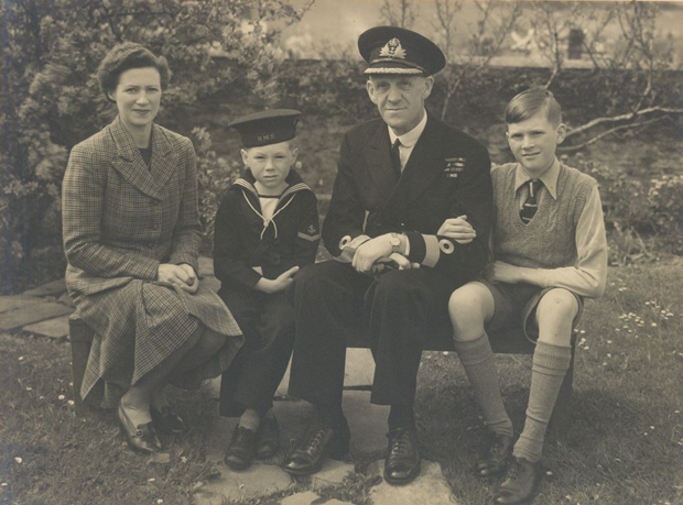 Peter (far right) with (from left) his mother, brother Patrick and father Commodore A L Poland
