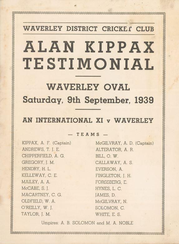 Alan Kippax Testimonial