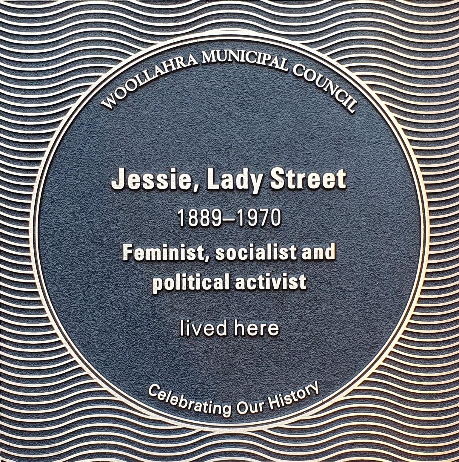 Jessie, Lady Street plaque