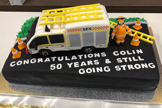 Cake celebrating Colin's 50 years of service as an SES volunteer
