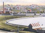 Postcard of boatsheds