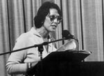 Rosemary Foot AO addressing an anti-amalgamation meeting, 1983